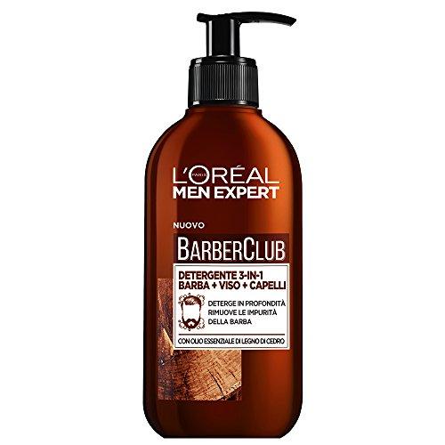 L'Oréal Paris Men Expert Barber Club Detergente 3-in-1 per Barba, Viso e Capelli, Senza Sapone, Deterge in Profondità, 250 ml