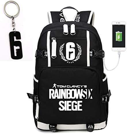 Teaspen Tom Clancy Rainbow Six-Siege Luminous USB Lade-Rucksack, Oxford-Stoff, inkl. R6-Schlüsselanhänger, Schwarz