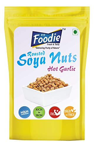 FIT FOODIE Crunchy Dry Roasted Lightly Salted Seasoned Soy Nuts Combo - Garlic (100gm) Pack of 4- Flavoured Toasted Whole Beans Low Salt Healthy Diet Namkeen Savory Snacks Food