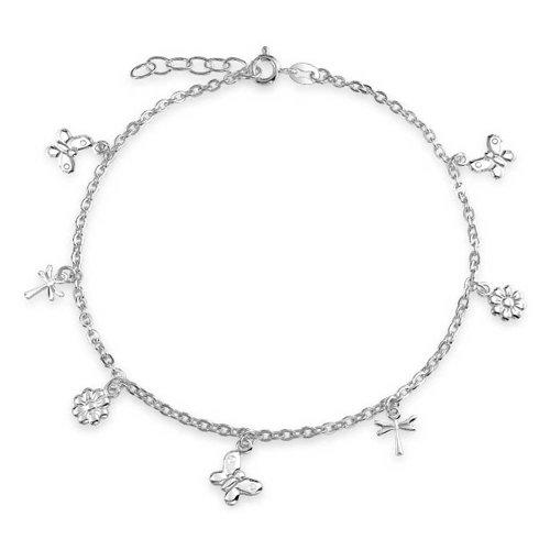 Bling Jewelry Plata Esterlina mariposas Libélula Flor encanto pulsera para el tobillo 9EN