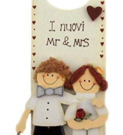 "Targa in legno SPOSI "" I NUOVI Mr & Mrs"" da parete o porta 8x26cm"