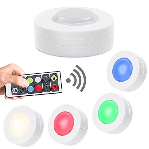 Salking - Luci LED per armadio, luci LED senza fili, con telecomando, dimmerabili, alimentate a batteria, per cucina, colore: bianco naturale Luci di parcheggio. Confezione da 4 pezzi
