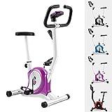GOPLUS Heimtrainer Fahrrad Fitness Fahrrad F-Bike Fitnessbike Trainer bis 120kg höhenverstellbar Farbwahl (Lila+weiß)