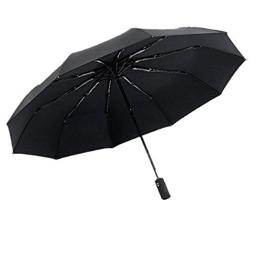 Winddicht Regenschirm,VADOOLL Leebotree Kompakt Reise/Outdoor Taschenschirm mit einhändiger Auf-Zu-Automatik, Schirmdurch aus robusten 210T Stoff, Teflon-Beschichtung, transportabel Stockschirme (schwarz)