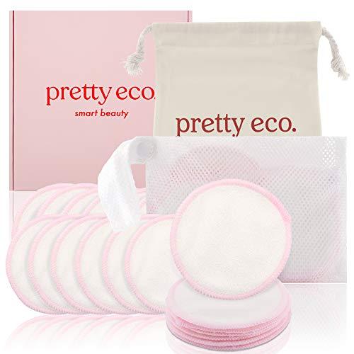 Pretty Eco Make-up-Pads, Bambus-Baumwolle, wiederverwendbar, mit Wäsche- und Aufbewahrungstasche, 20 Stück