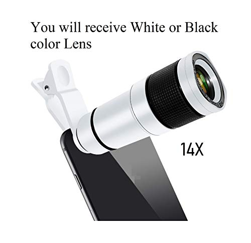Taggy SaleOn 14X Zoom HD Telephoto Lens for iPhone Xs Max XR X 8 7 Plus , Android Smartphones, Monocular Telescope (White/Black)