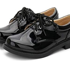 Bumud Kids Boys Black Faux Leather School Shoes Lace up Formal Footwear Oxford 41LEyAOsMIL
