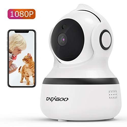 CACAGOO 1080P Telecamera di Sorveglianza WiFi, Videocamera IP Wireless Interno, Audio Bidirezionale, Visione Notturna, Rilevamento Movimento, Allarme via App, Baby monitor