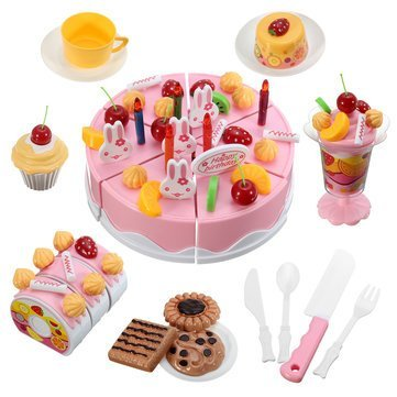 Generic 75PCS Fruitcake Cake Sweet Drink Kids Role Play Kitchen Toy Gift ABS Plastic