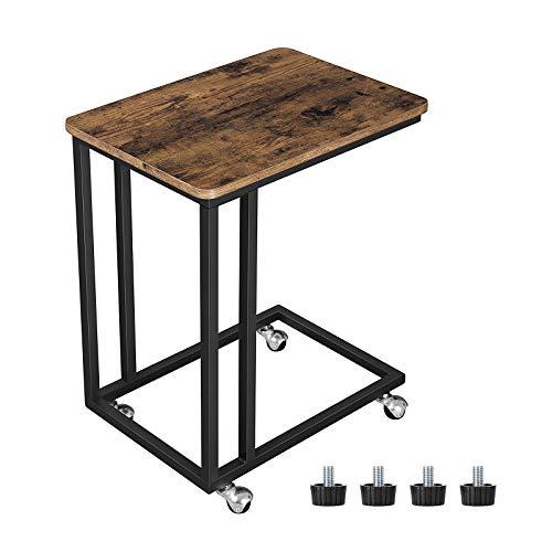 VASAGLE Tavolino da Letto con Ruote Industriale, Tavolino Mobile da Salotto, Comodino, Carrello,...