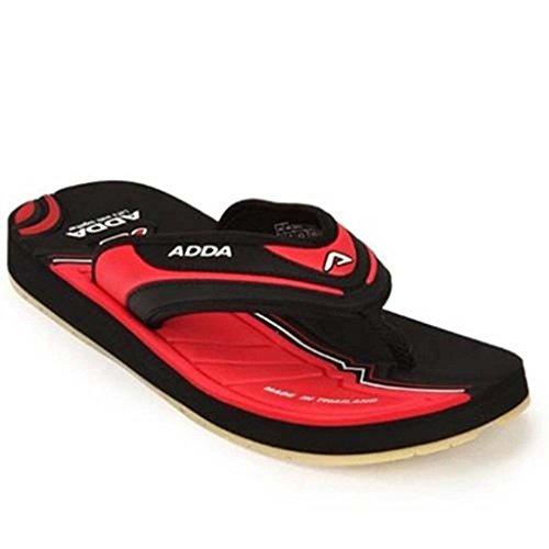 Adda Men's Black Red synthetic slipper 9 uk