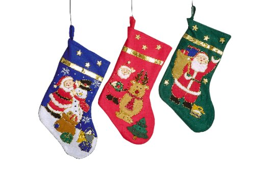 Set of 3 Santa Claus and Snowman Stockings