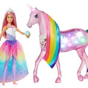 Barbie Dreamptopia Muñeca con pelo rosa y su unicornio luces mágicas, regalo para niñas y niños 3-9 años (Mattel FXT26)