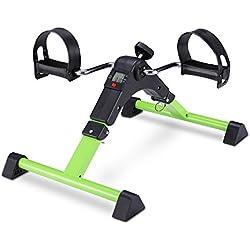 FITODO Pedales Estaticos Ejercicio de Mini Bicicleta con Monitor LCD para Pierna y el Brazo de Rehabilitación(Verde)