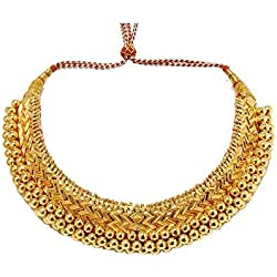 Tejas immitation jewellery Traditional Gold-Plated Golden Choker Kolhapuri Necklace for Women