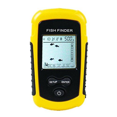 Nrpfell FF1108-1 Allarme Sonar Portatile Fish Finder Ecoscandaglio 0,7-100M Sensore trauttore Finder # B3 Giallo