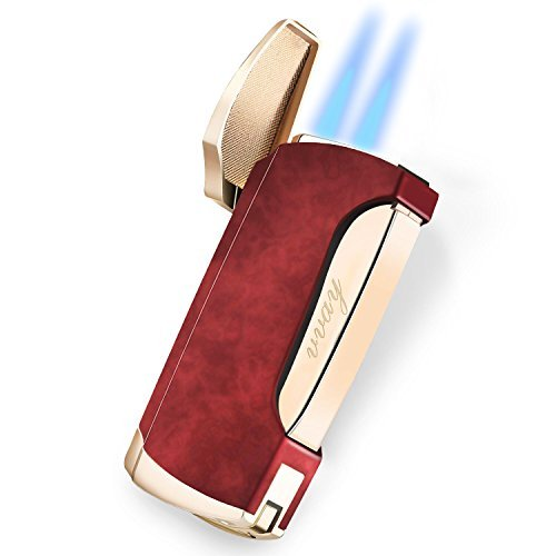 Zigarren Feuerzeuge, VVAY Sturmfeuerzeug Jetflamme Gas Butane Nachfüllbar Turbo Doppelflamme Windfestes für Männer Rot (Verkauft Ohne Gas )