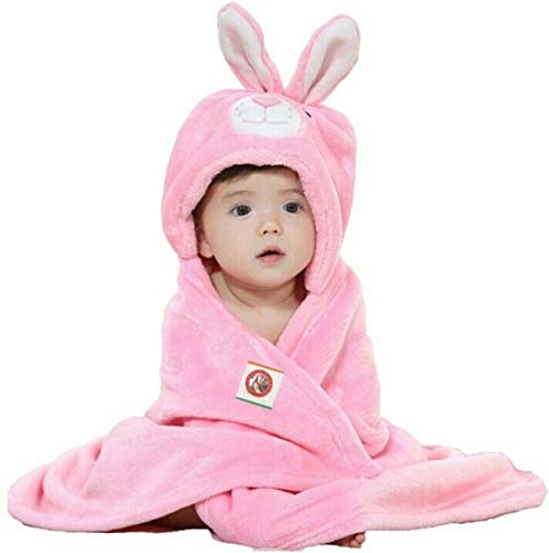 GURU KRIPA Baby Products ® Presents Soft Flannel Fleece Baby Blanket Cum Sleeping Bag 100% Soft Receiving Hooded Blanket Wrap for New Born to 12 Month (Pink)