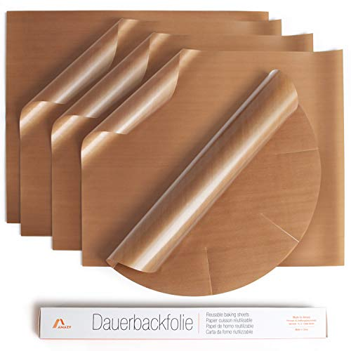 Amazy Dauerbackfolie (5er Set) – Das Premium Backpapier – Wiederverwendbar, hitzebeständig, antihaftbeschichtet und spülmaschinenfest (5er Pack – 4 x eckig, 1 x rund)