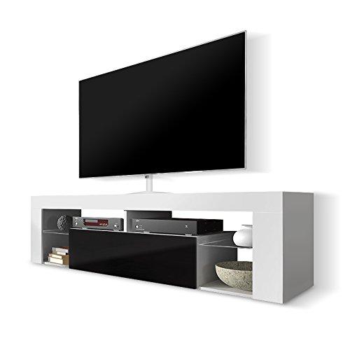 Selsey HUGO - Mobile TV con anta a ribalta, Bianco opaco/Nero lucido, 140 x 50.5 x 35 cm