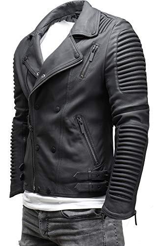 CRONE Unique Herren Echtleder Biker Jacke Premium Lederjacke Weiches Schafs-Leder mit vielen Details und Zippern 1