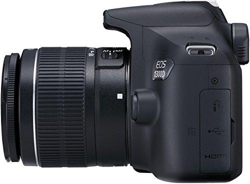 Canon EOS 1300D - Kit cámara digital y objetivo Canon EF-S 18-55 DC III (18 MP CMOS, 5184 x 3456 pixeles), color negro
