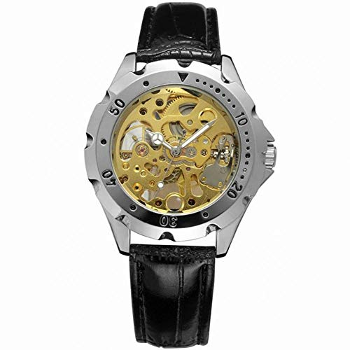 Male Watch, 2 Colors Fashionable Alloy Full Hollow Manual Mechanical Wrist Watch with Adjustable Leather Watch Strap(Gold)