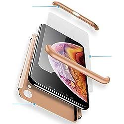 WYRHS Funda Samsung Galaxy S8 Plus Protección de 360 Grados 3 en 1 con [Protector de Pantalla de Vidrio Templado] Silicona TPU Bumper Shockproof Resistente a Los Arañazos Cover-Oro