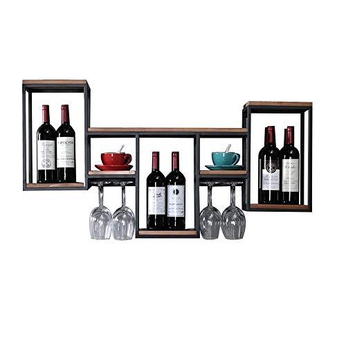 XING ZI Shelf C-K-P Cantinetta A Parete Retro Porta Bicchiere da Vino in Legno Portabottiglie...
