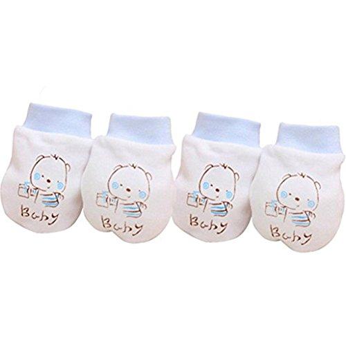 Tangbasi 2paia neonato antigraffio guanti da bambino morbido cotone blu Blue taglia unica