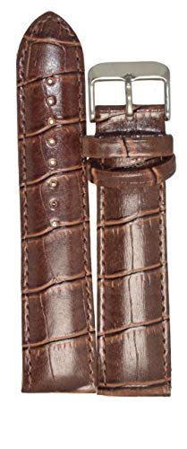 Kolet 20Mm Croco Padded Leather Watch Strap (Brown)