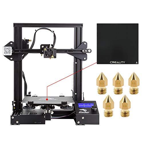 Comgrow Creality 3D DIY 3D Drucker Ender-3 mit Gehärteter Glasplatte und Fünf Düsen 220x220x250mm Druckgröße (Ender-3X)