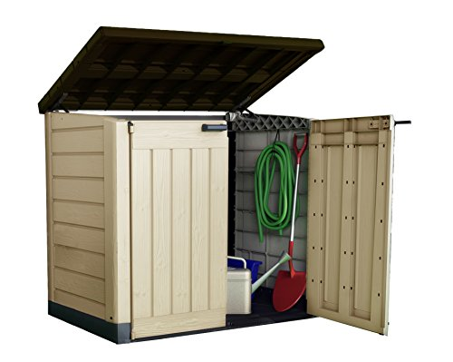 It's hard to beat the Keter Store It Out Max Outdoor Plastic Garden Storage Shed to the best garden storage box title. The box offers enough room for keeping several items, large or small, including chairs, hand lawn mowers, forks, pool pumps, bicycles, boots, gardening gloves, and many others.