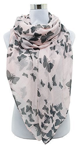 HotStyleZone Nuevo Pañuelo De Cuello Para Mujer Estampado De Mariposas Nata Rosa Gris Negro Morado - Rosa Claro, Grande