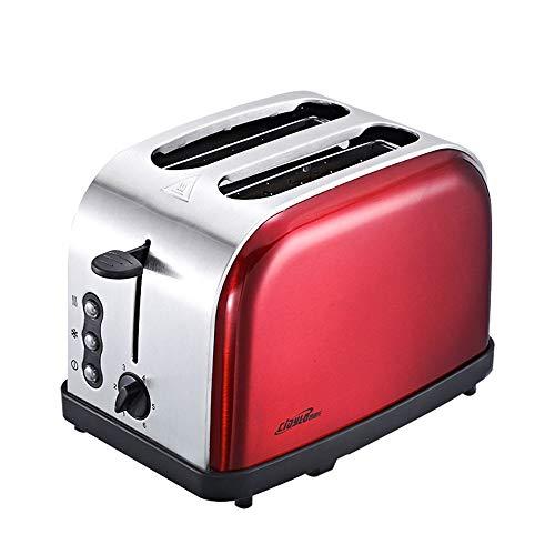 Douerye Tostapane in Acciaio Inox tostapane Automatico 2 Pezzo Home Colazione Pane Macchina,Red
