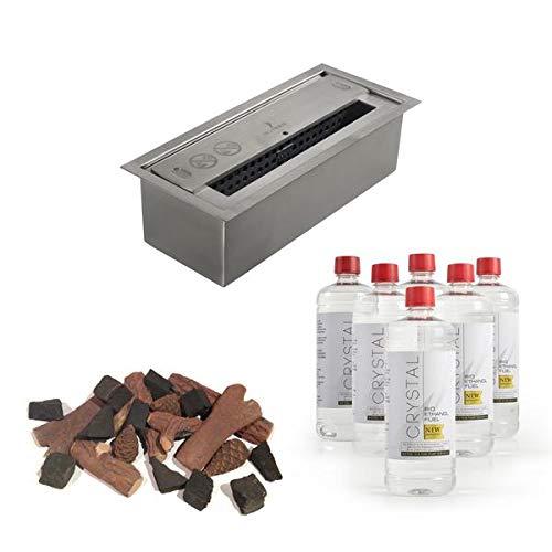 Bio Fires - Budget Diy Kit With Small Burner - 9 pieces Logs & 11 pieces Coals DIY kit