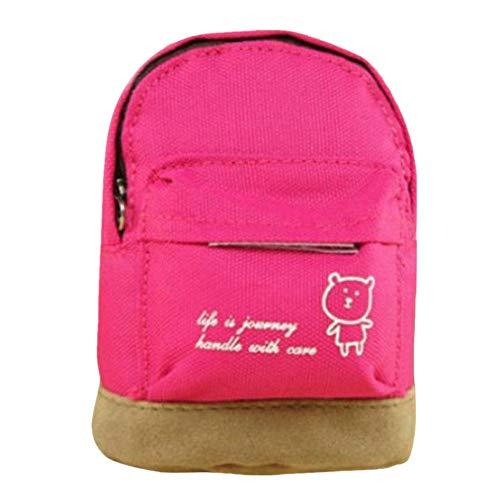 Dorical 1 pcs Leinwand Münze Geldbörse,Schultasche Stil Schlüsselbeutel Kleiner Geldbeutel Reißverschluss praktisch kleine Geldbörse Mini Geldbeutel Portemonnaie Herren und Damen(Hot Pink)
