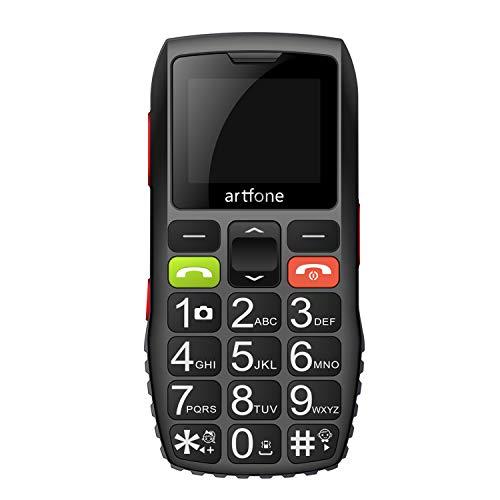 Artfone C1 Telefono Cellulare per Anziani con Tasti Grandi, Funzione SOS, Batteria di grande capacità, Nero