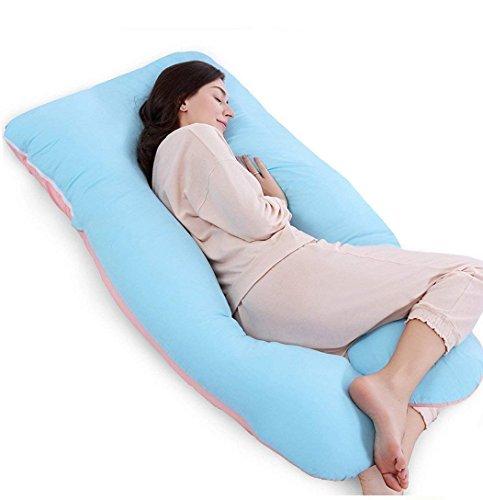 QUEEN ROSE Oreiller de grossesse, oreiller de corps avec la couverture remplaçable et lavable (140_x_78_cm, Coton, Bleu et Rose)