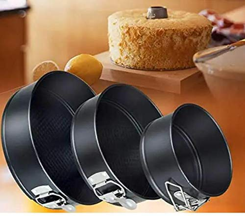 Aj fashion Set of 3 Round Aluminium Non-Stick Backing Cake Moulds Pan Can be Used in Microwave Ovens (Black)