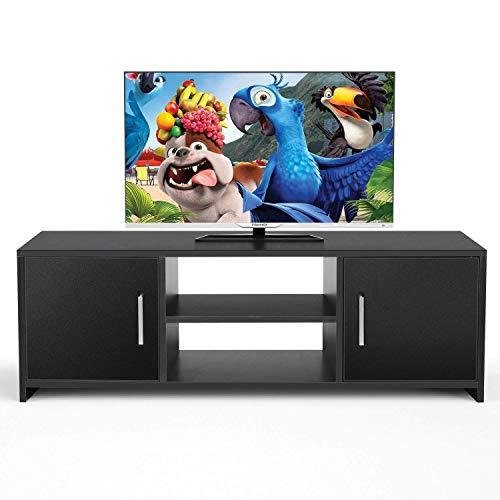 Homfa Mobile porta TV Stand Supporto TV Armadietto in Legno 110x35x36cm (Nero)