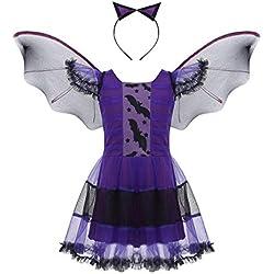 Agoky Disfraz de Vampiro para Niña Tutú Vestido de Murciélago con Alas Diadema de Gato Cosplay Disfraces de Bruja para Fiesta Halloween Carnaval Morado 5-6 Años