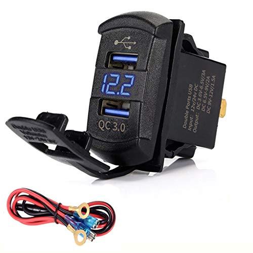WEISHAZI Quick Charge 3.0 Dual USB Rocker Switch QC 3.0 Cargador Rápido LED Voltímetro Para Barcos Coche Camión Motocicleta Smartphone Tablet