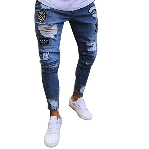 Fami Pantalone Attillato strappato da Uomo Slim Fit Biker con Cerniera Jeans Skinny sfilacciato (Azzurro, M)