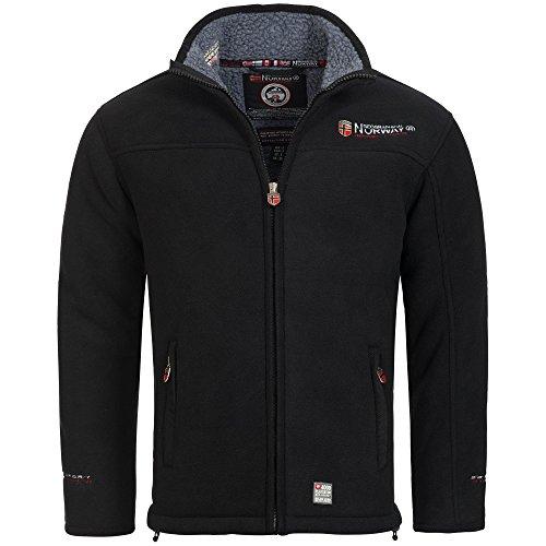 Geographical Norway, giacca in pile, da uomo, con calda fodera in pelliccia, taglia: da S a XXXL Nero  M