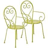Esschert Design Gartenstuhl Gartenstühle Metall Stühle in Grün 2er Set