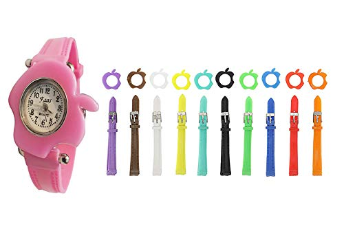 faas Analogue Multi-Colour Dial Apple Girl's Watch with 11 Interchangeable Dial and 11 Strap(MM035)