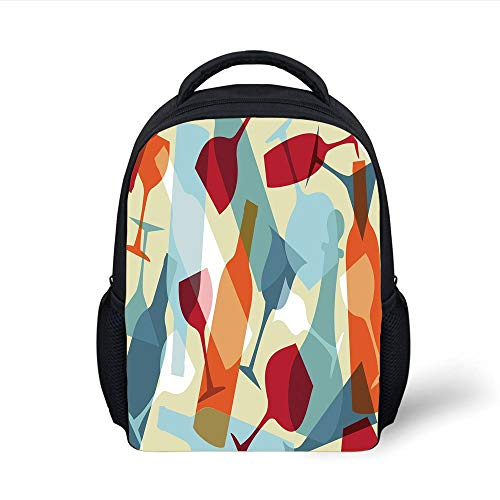 Kids School Backpack Wine,Modern Design Colorful Silhouettes of Glasses Bottles Fun Party Artistic...