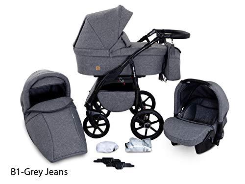 GaGaDumi Boston Passeggino TRIO baby Carrozzina Trio Seggioliono OVETTO AUTO Sistemi modulari (B1-Grey jeans)