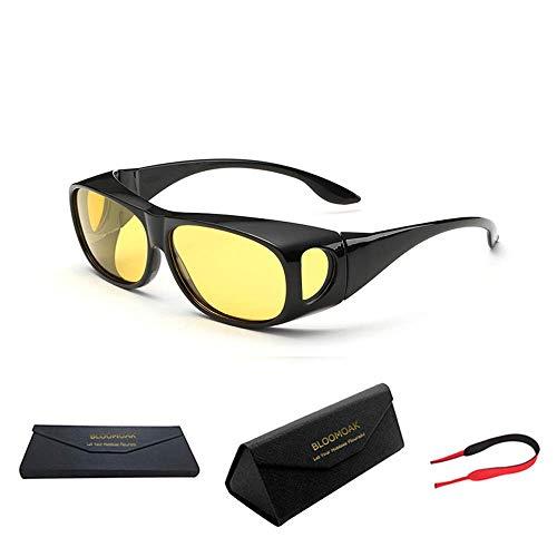 Bloomoak Night Driving over Glasses for Men and Women/Wrap Around Prescription Eyewear/Polarized Yellow Lens/Anti-Glare UV 400 Protection